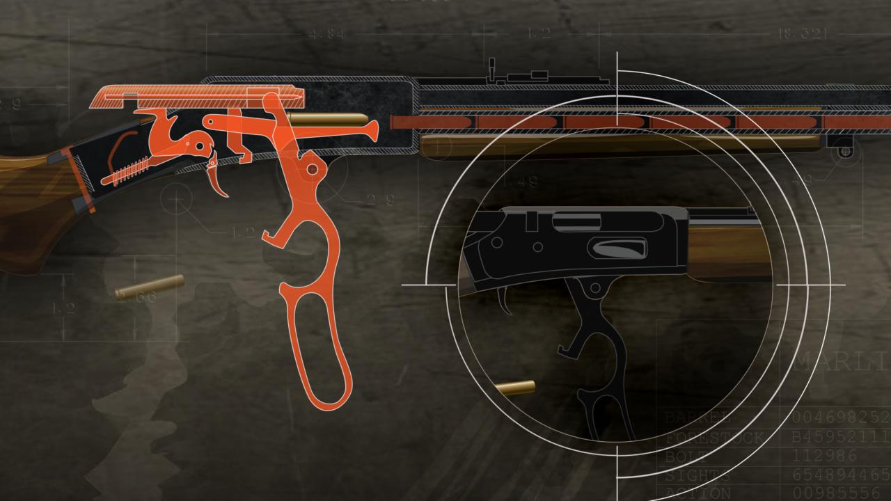 Illustration of the inside of a lever action rifle with the action highlighted in orange and a close up of the open action.