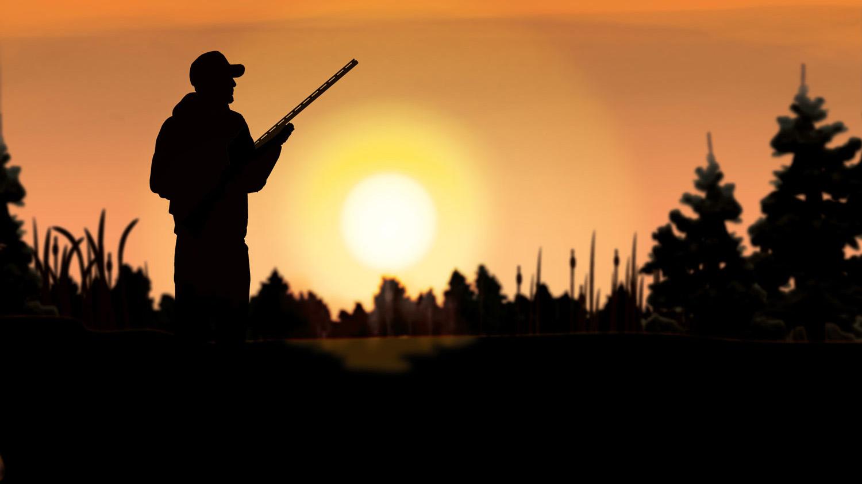 Illustration of a hunter hunting at sunset.