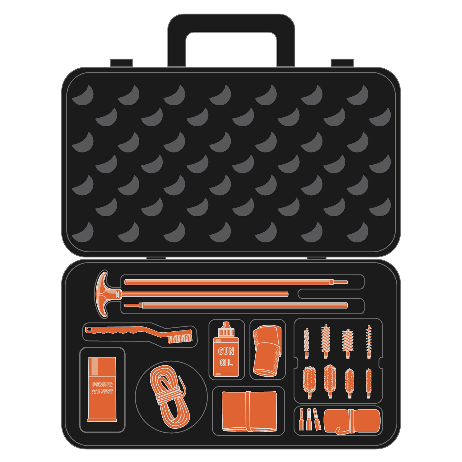 Illustration of a complete cleaning kit with all components highlighted in orange.