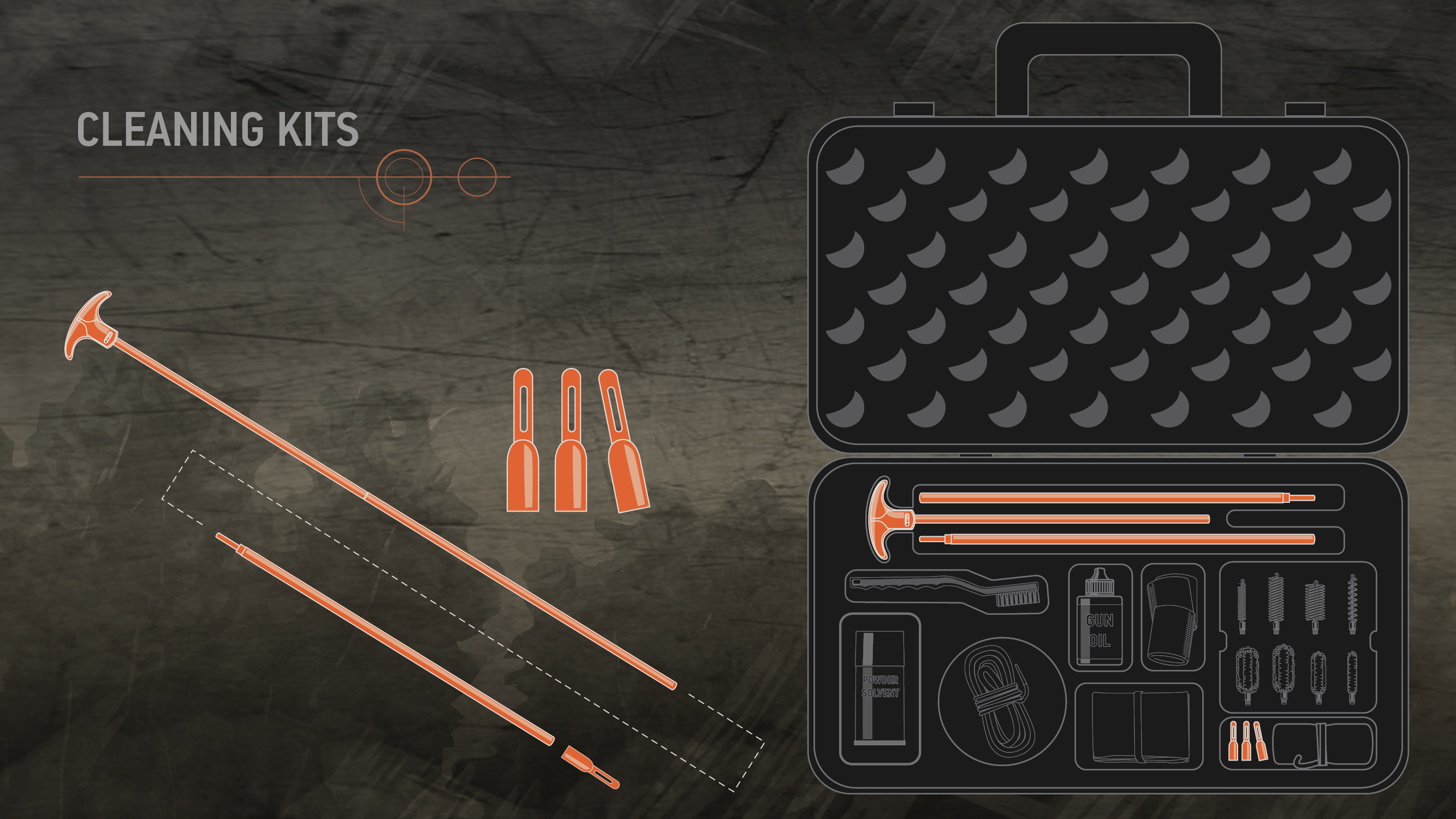 Illustration of a cleaning kit with a cleaning rod and cleaning rod tips highlighted in orange.