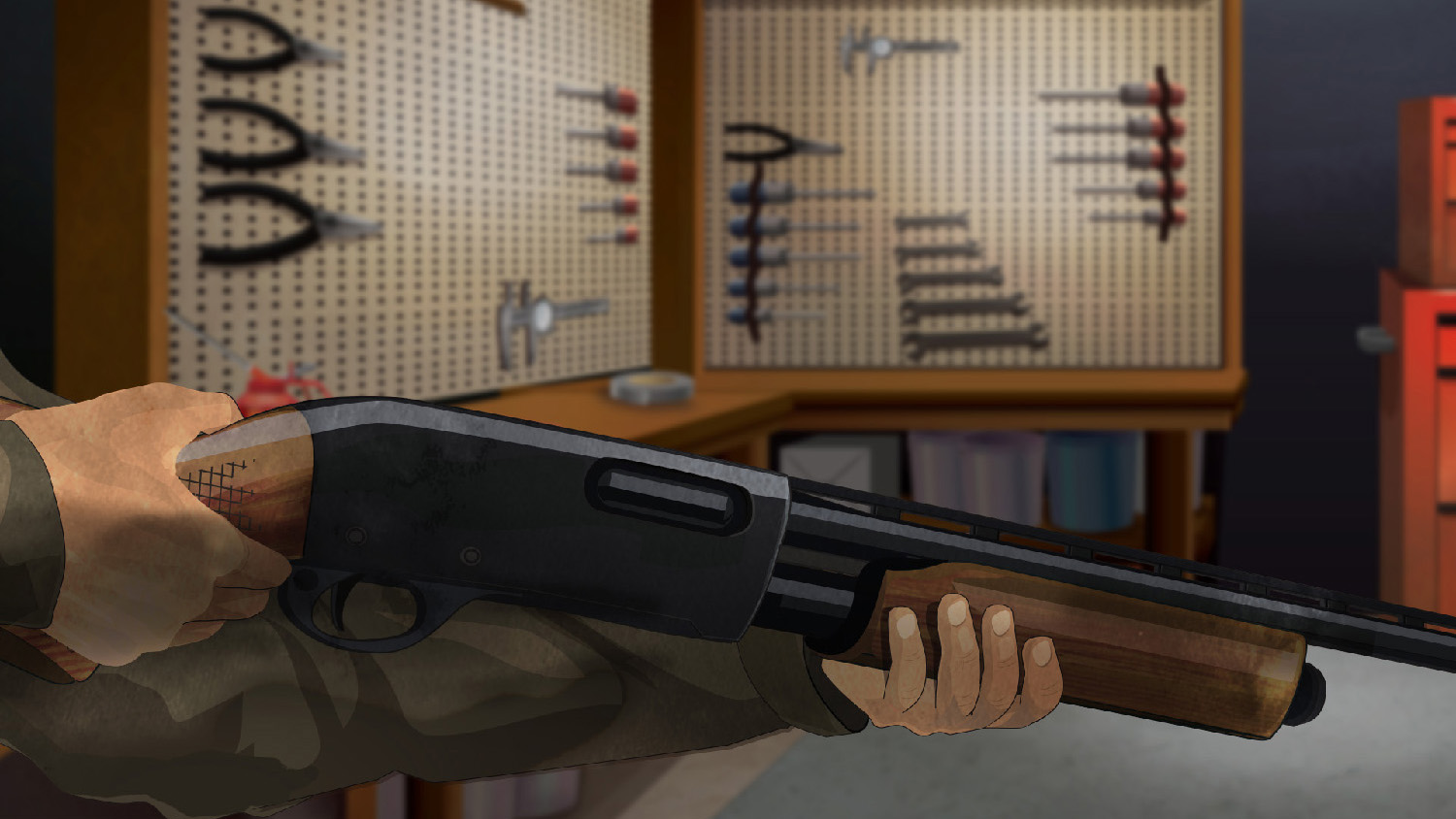 Illustration of a man's hands holding a pump action rifle.