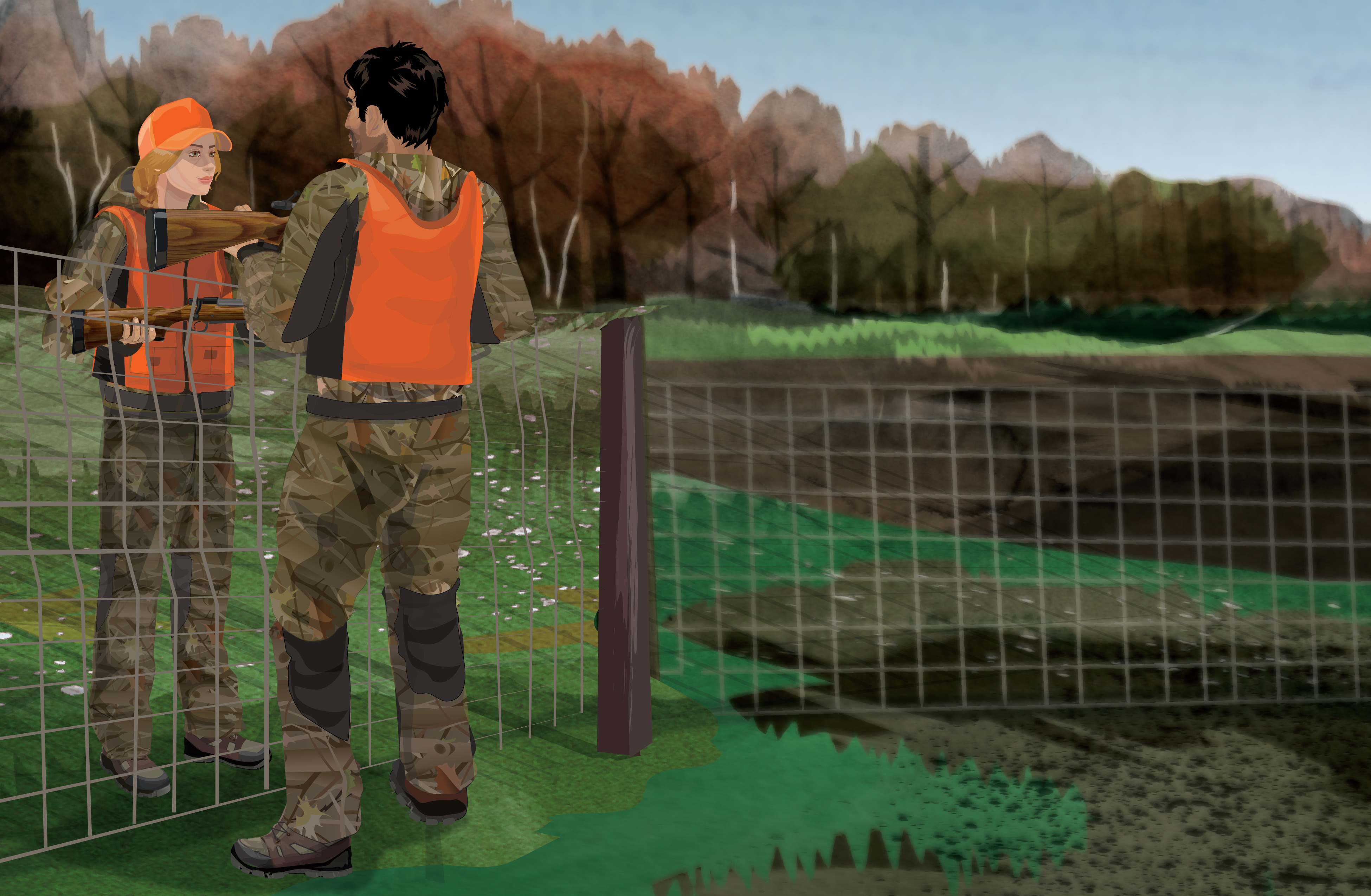 Illustration of a hunter passing a firearm over a stream to another hunter.