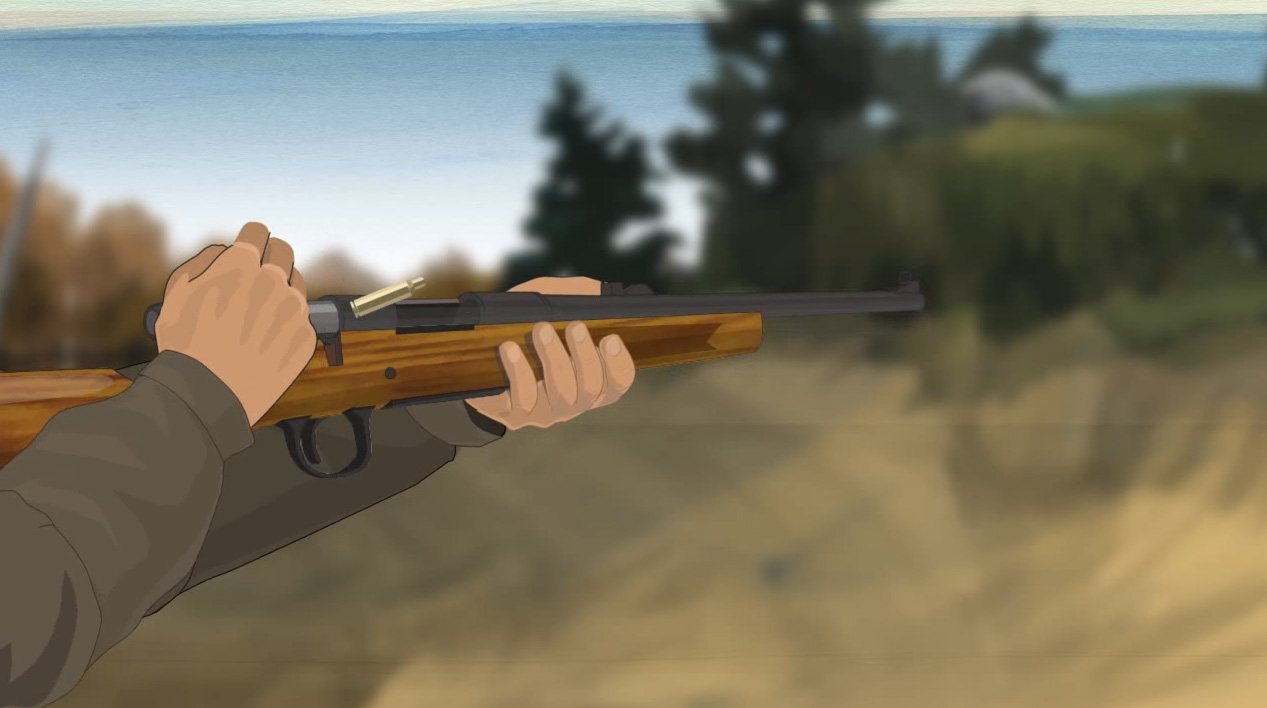Illustration of a hunter's hands cycling a cartridge out of a firearm.