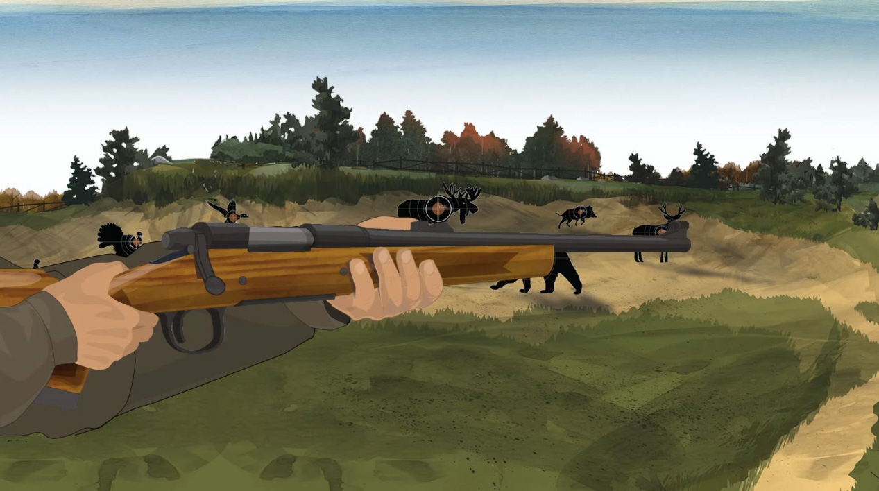 Illustration of a hunter's hands holding a bolt action rifle.