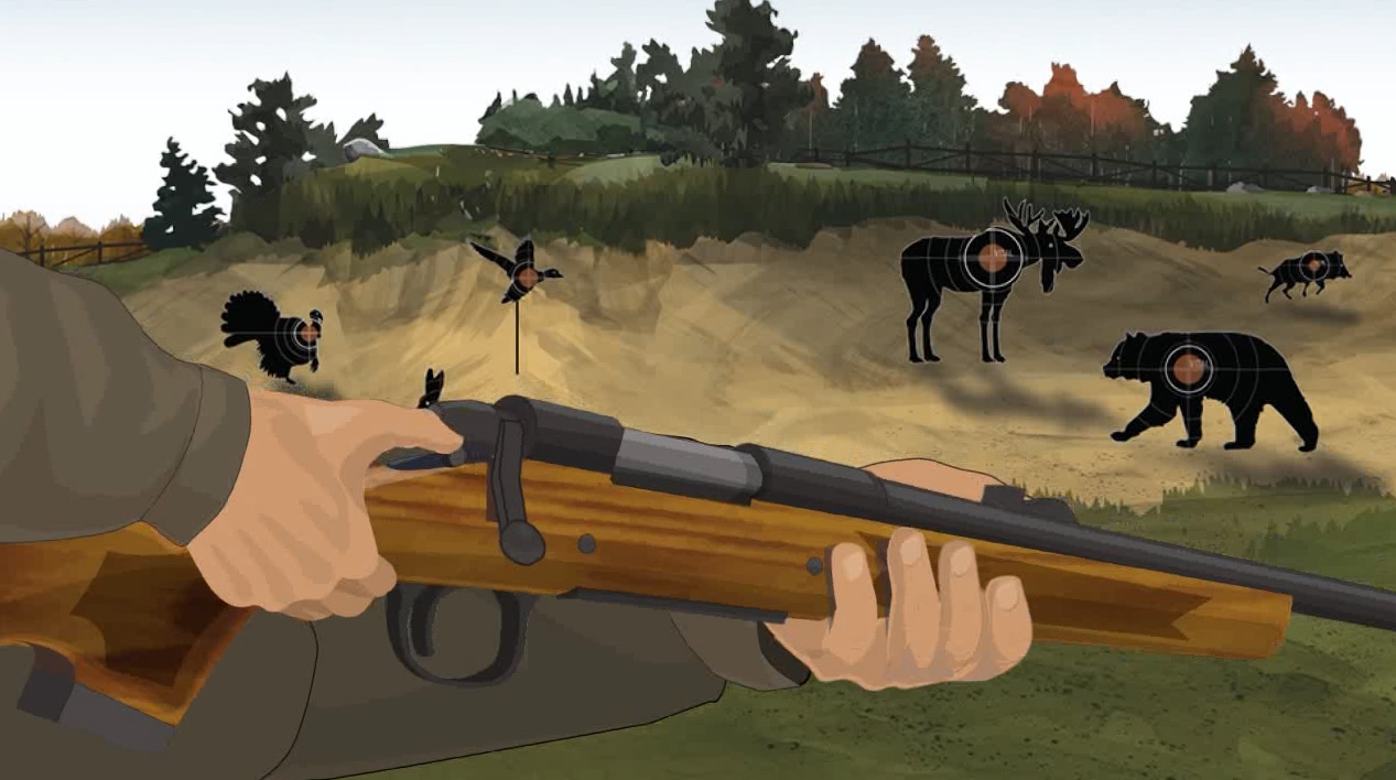 Illustration of a hunter's hands turning on a firearm's safety.