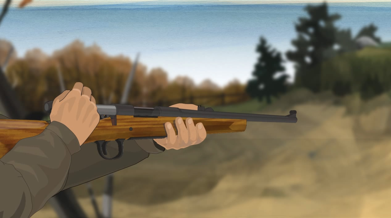 Illustration of a hunter's hands opening a bolt action rifle's action.