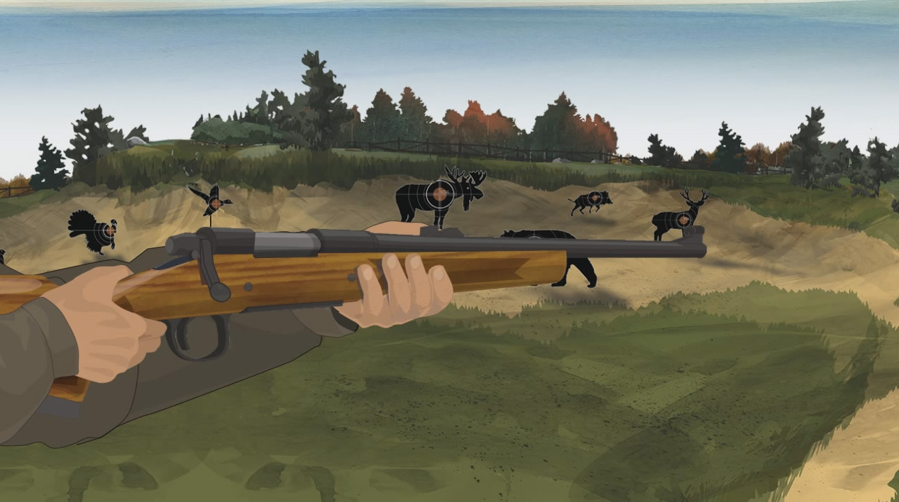 Illustration of a hunter's hands holding a bolt action rifle with the muzzle pointed in a safe direction.
