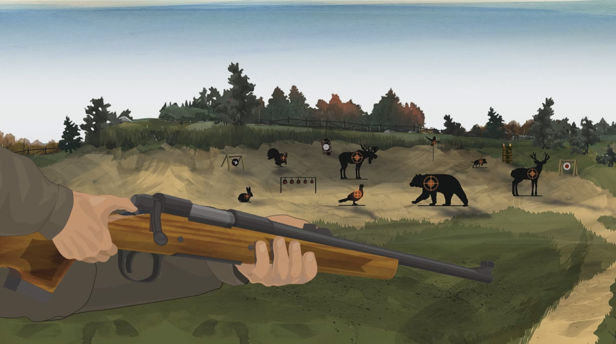 Illustration of a hunter's hands turning on a bolt action rifle's safety.