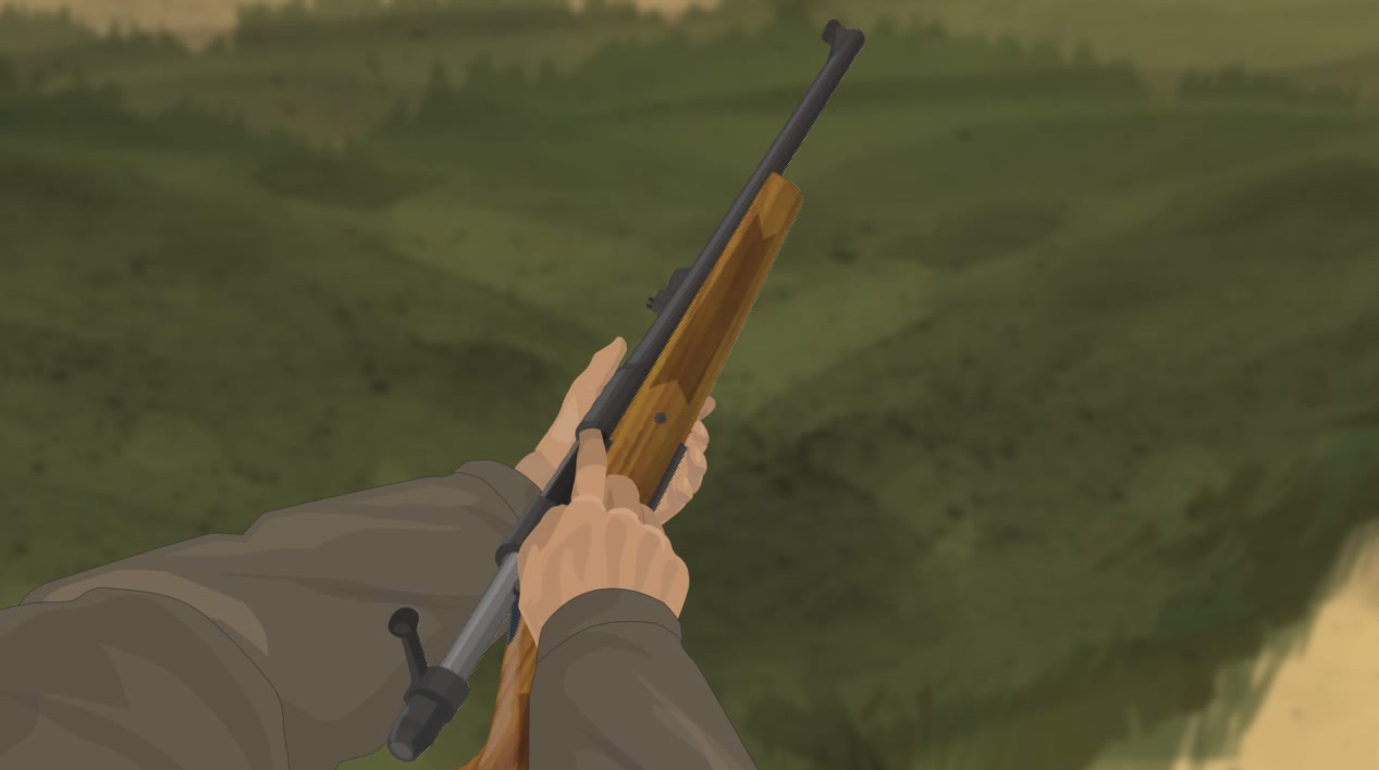 Illustration of a hunter's finger checking the chamber for obstructions.