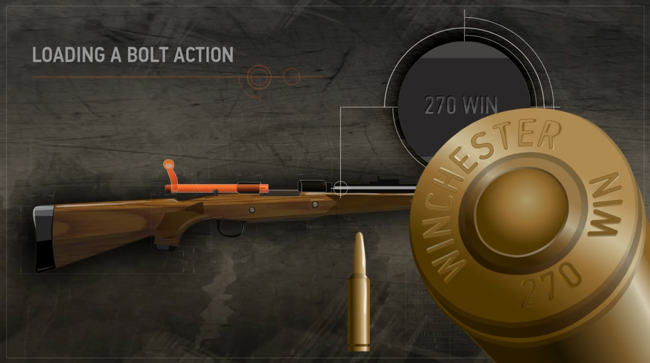 Illustration of a bolt action rifle with a close up of its data stamp and the matching cartridges head stamp.