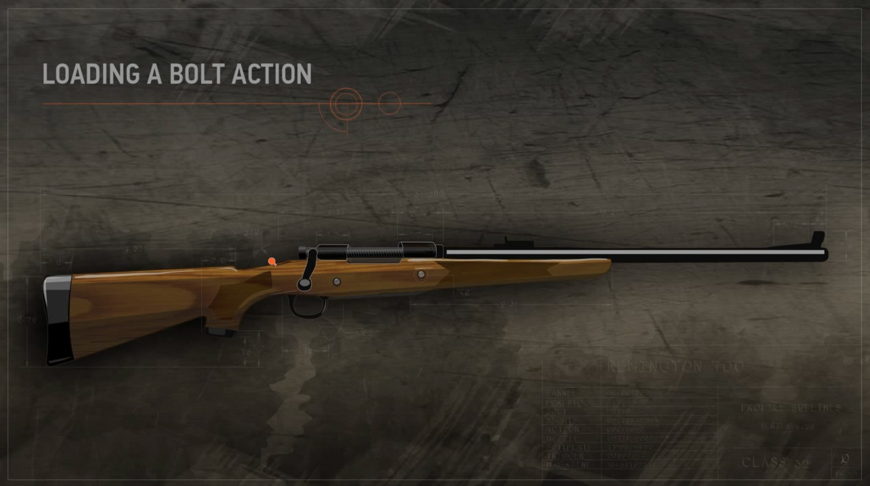 Illustration of a bolt action rifle with the safety on.