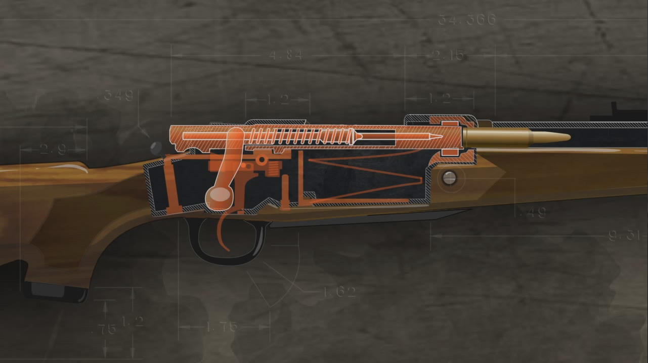 Illustration of the inside of a loaded bolt action rifle.