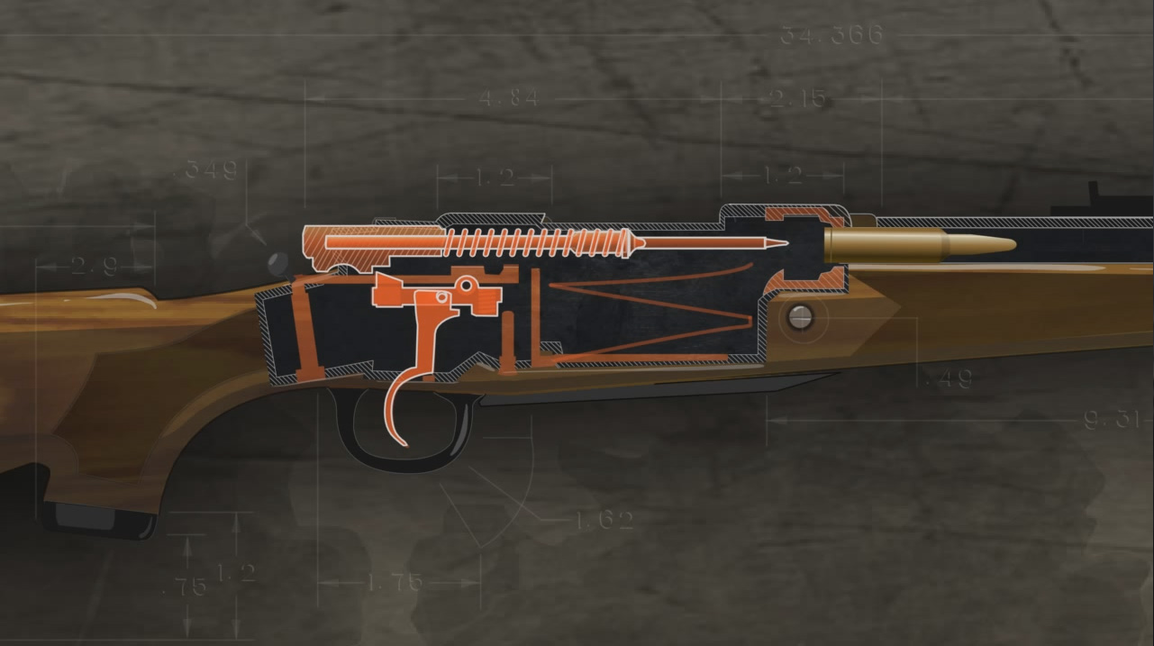 Illustration shows the inside of a loaded bolt action rifle ready to be fired.