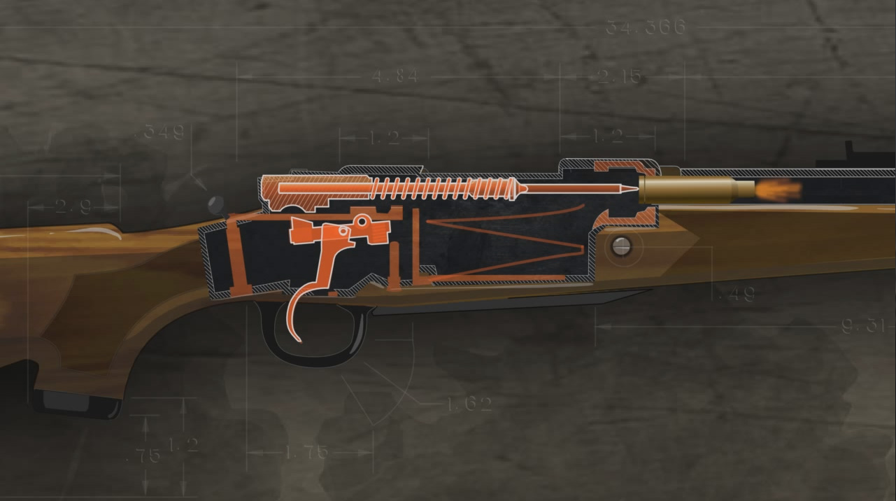 Illustration shows the inside of a loaded bolt action rifle as it is being fired.