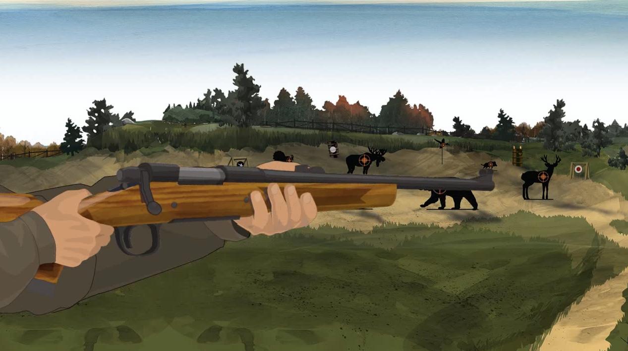 Illustration of a hunter's hands holding a bolt action shotgun.