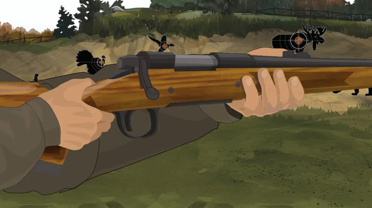 Illustration of a hunter's hands keeping off the trigger of a bolt action rifle.