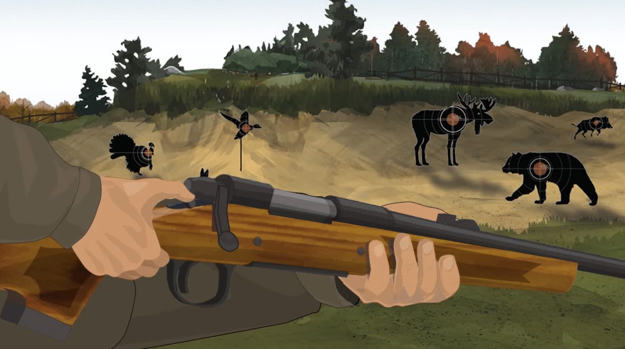 Illustration of a hunter's hands turning a bolt action rifle's safety on.