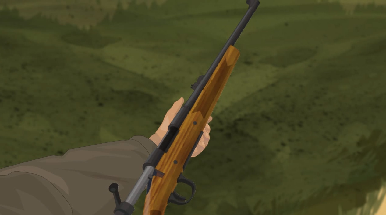 Illustration of a hunter's hands holding a bolt action rifle on its side with the action open.