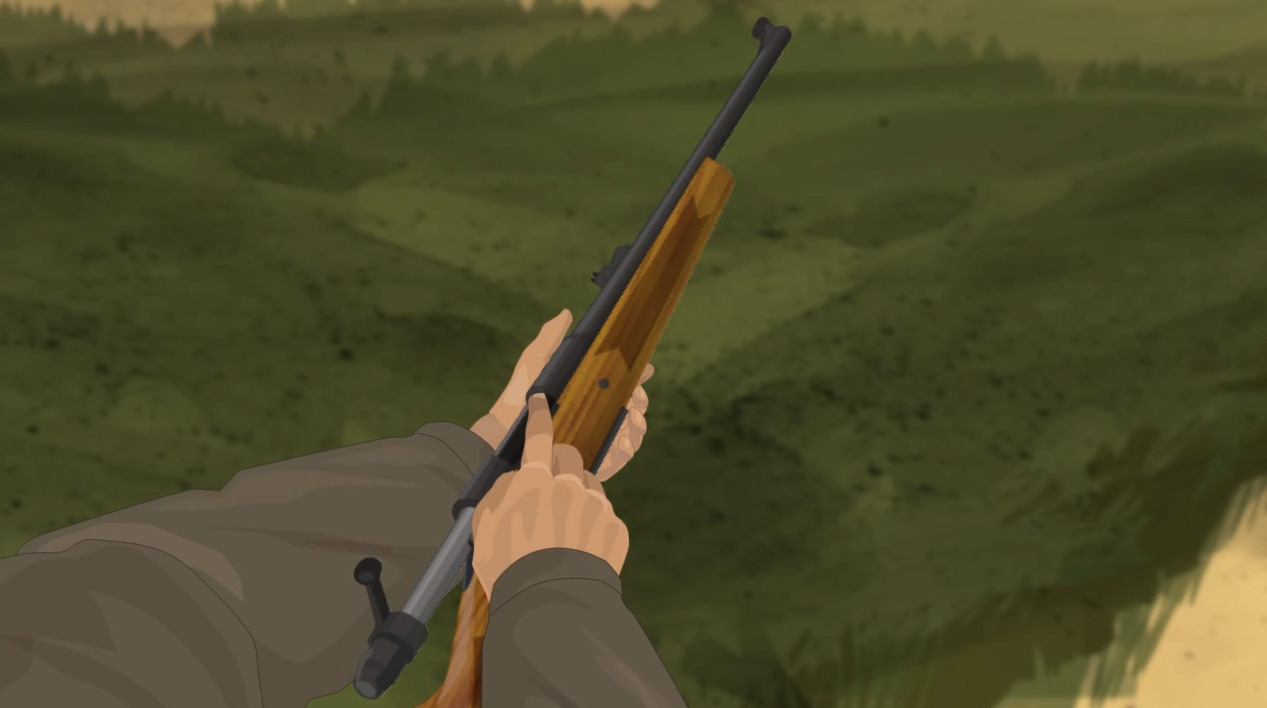 Illustration of a hunter's finger checking a bolt action rifle's feeding path for obstructions.
