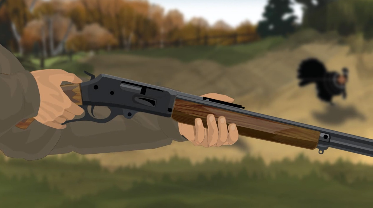 Illustration of a hunter's hands holding a lever action rifle.