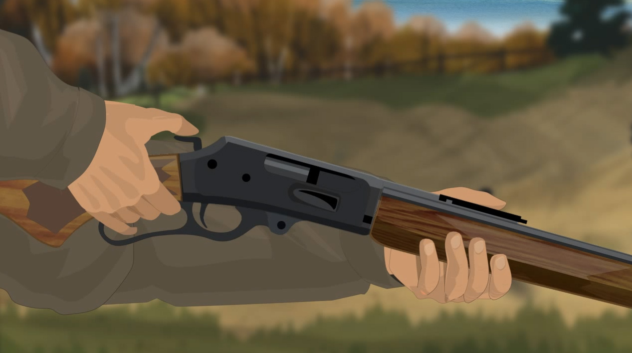 Illustration of a hunter's hands turning a lever action rifle's safety on.