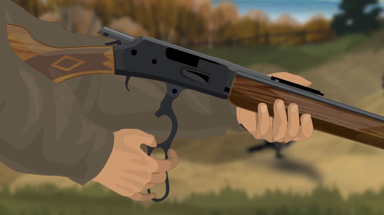 Illustration of a hunter's hands opening a lever action rifle's action.
