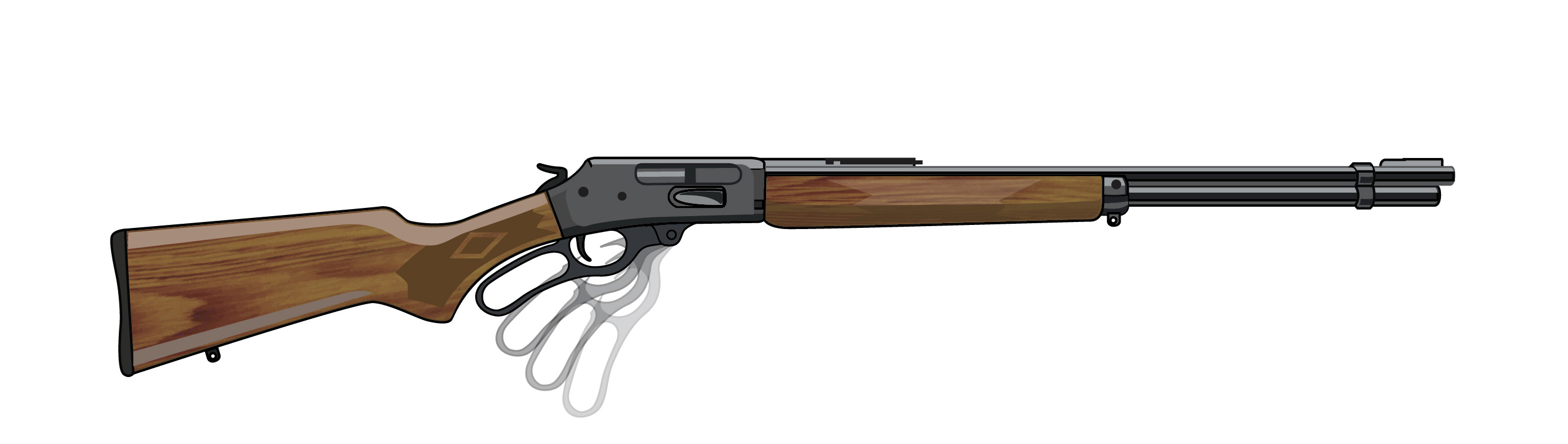 Illustration of a lever action rifle.