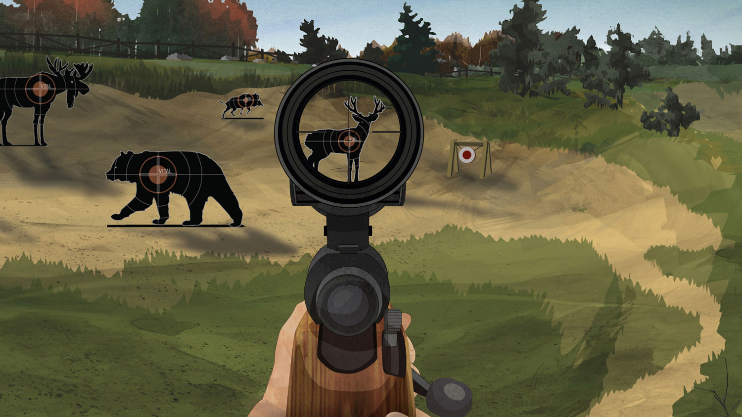 Illustration of a hunter's hands pointing a firearm at a deer target with the sight focused on the game's vital zone.