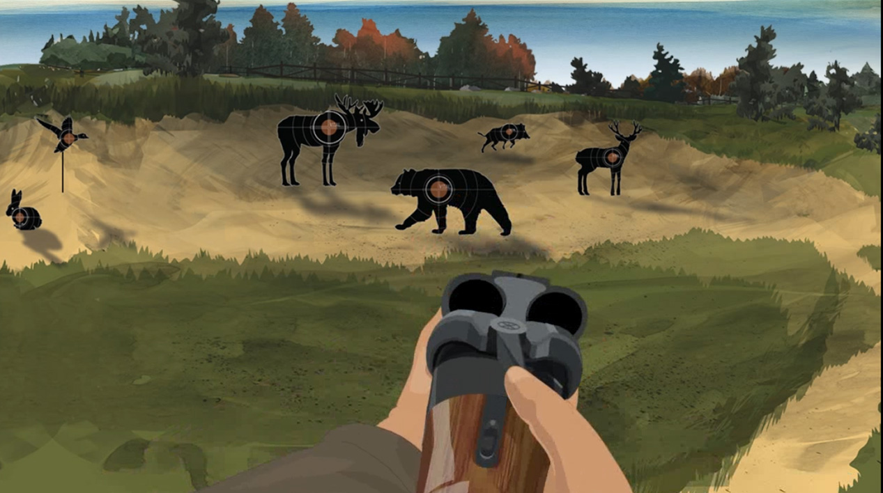 Illustration of a hunter's hands holding a break action shotgun with the action open.