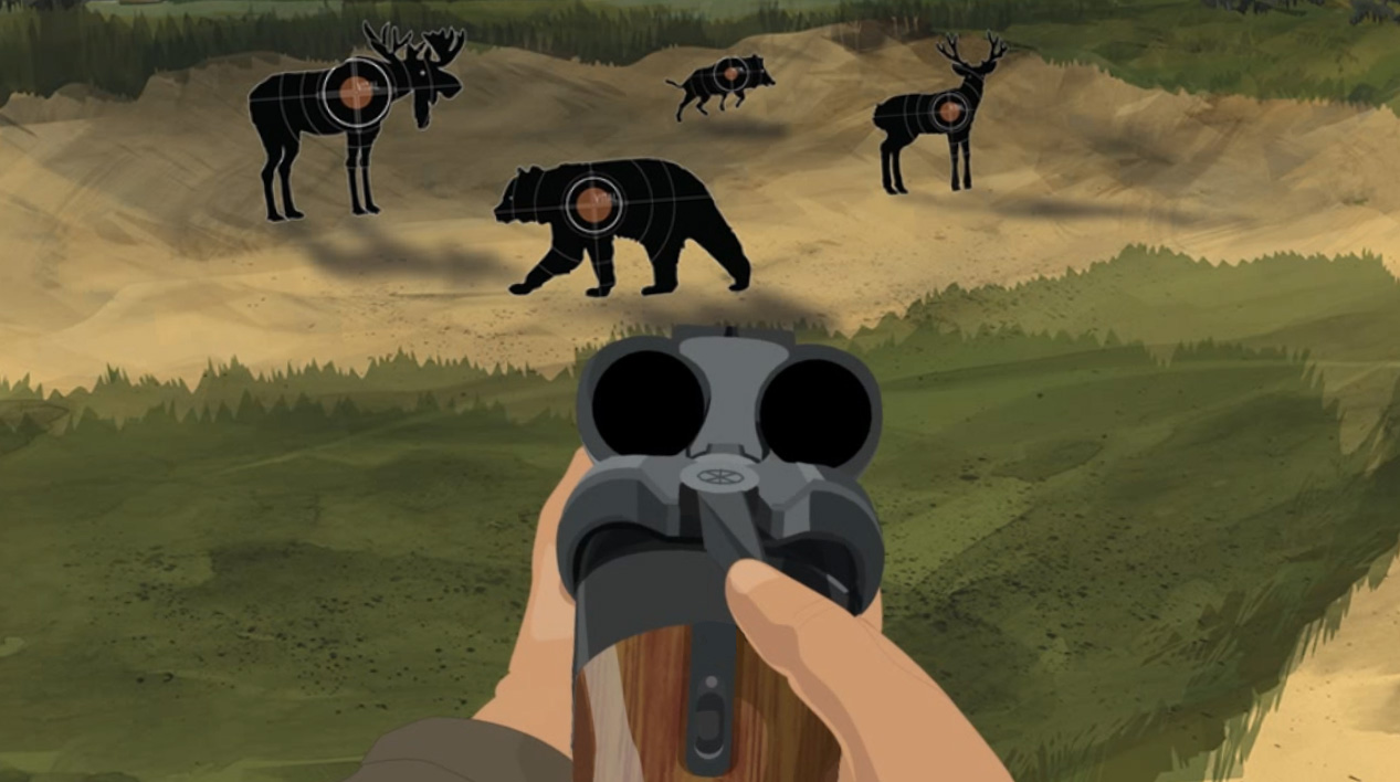 Illustration of a hunter's hands holding a break action shotgun with an open action to check the chambers for ammunition.
