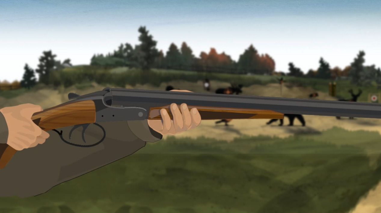 Illustration of a hunter's hands holding a break action shotgun with the muzzle pointed in a safe direction.