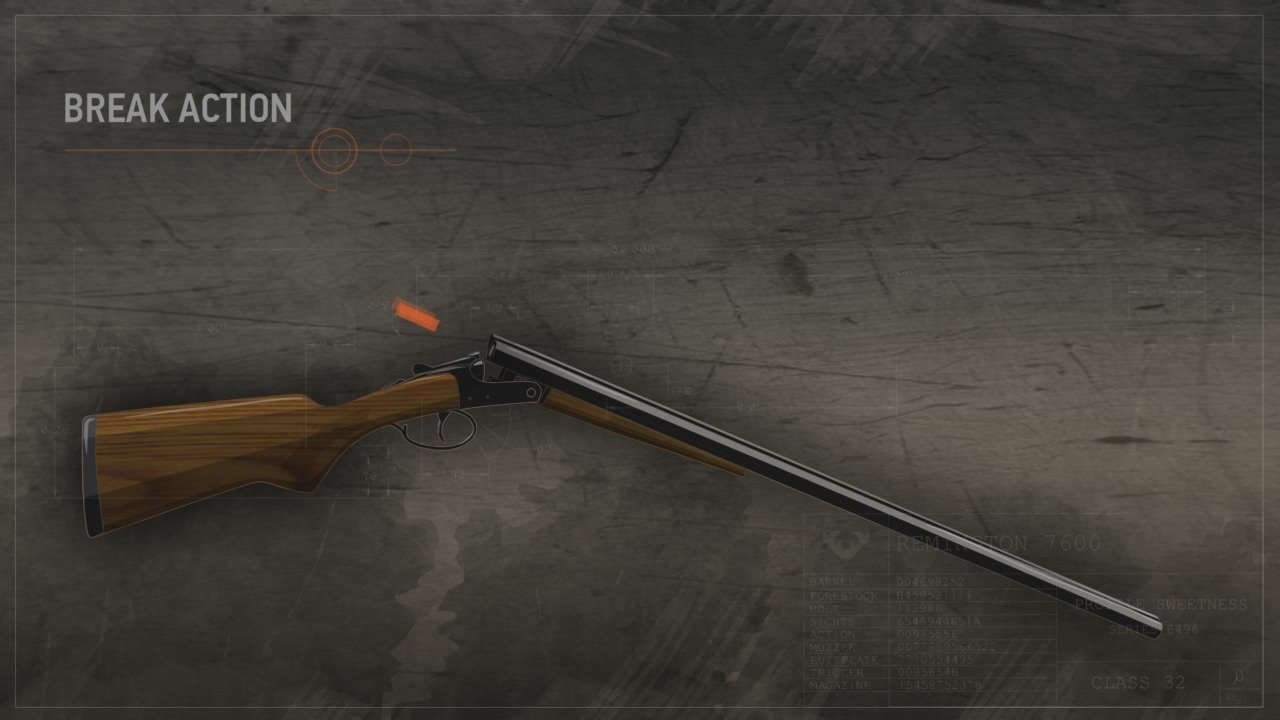 Illustration of a break action shotgun with the action open and ammunition highlighted in orange being inserted into the chambers.