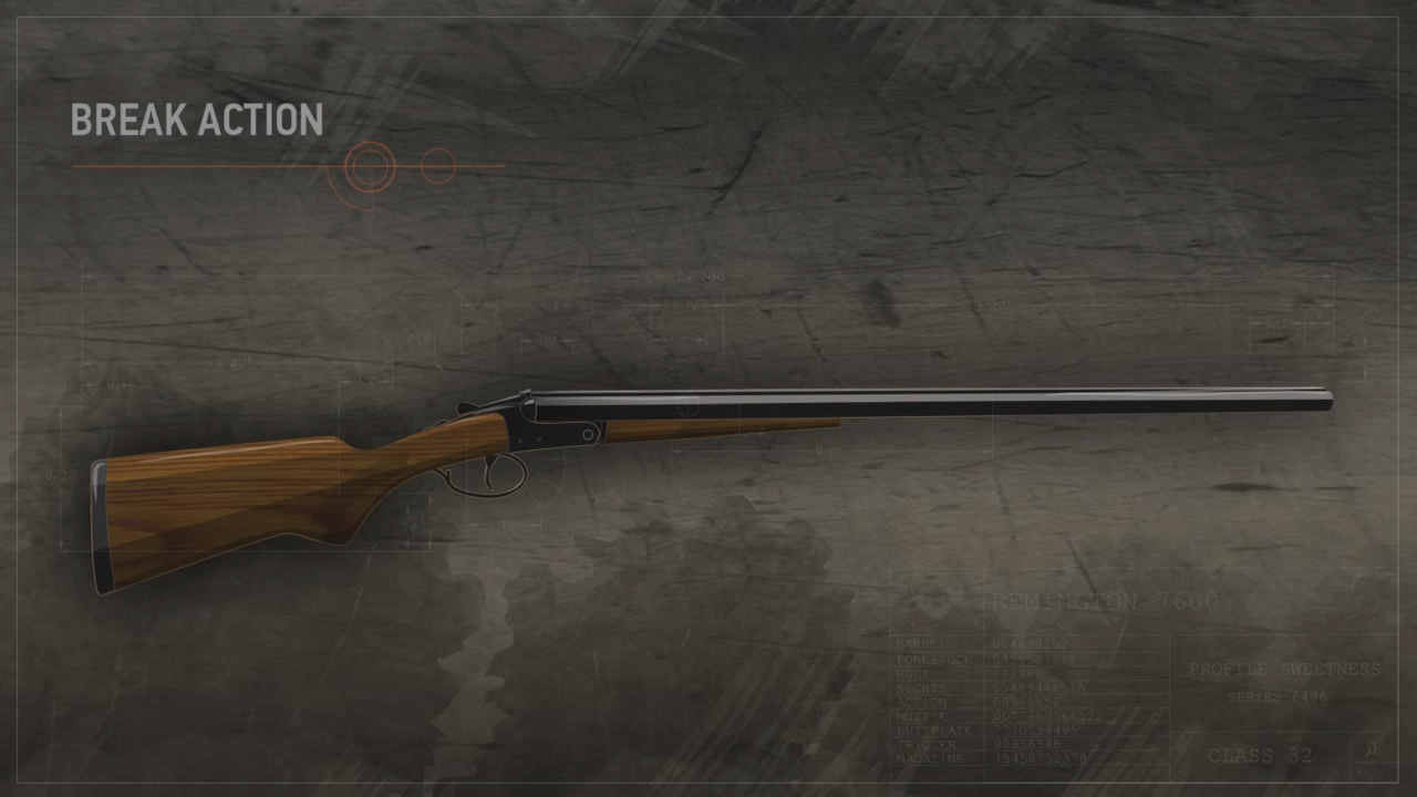 Illustration of a break action shotgun with the action closed.