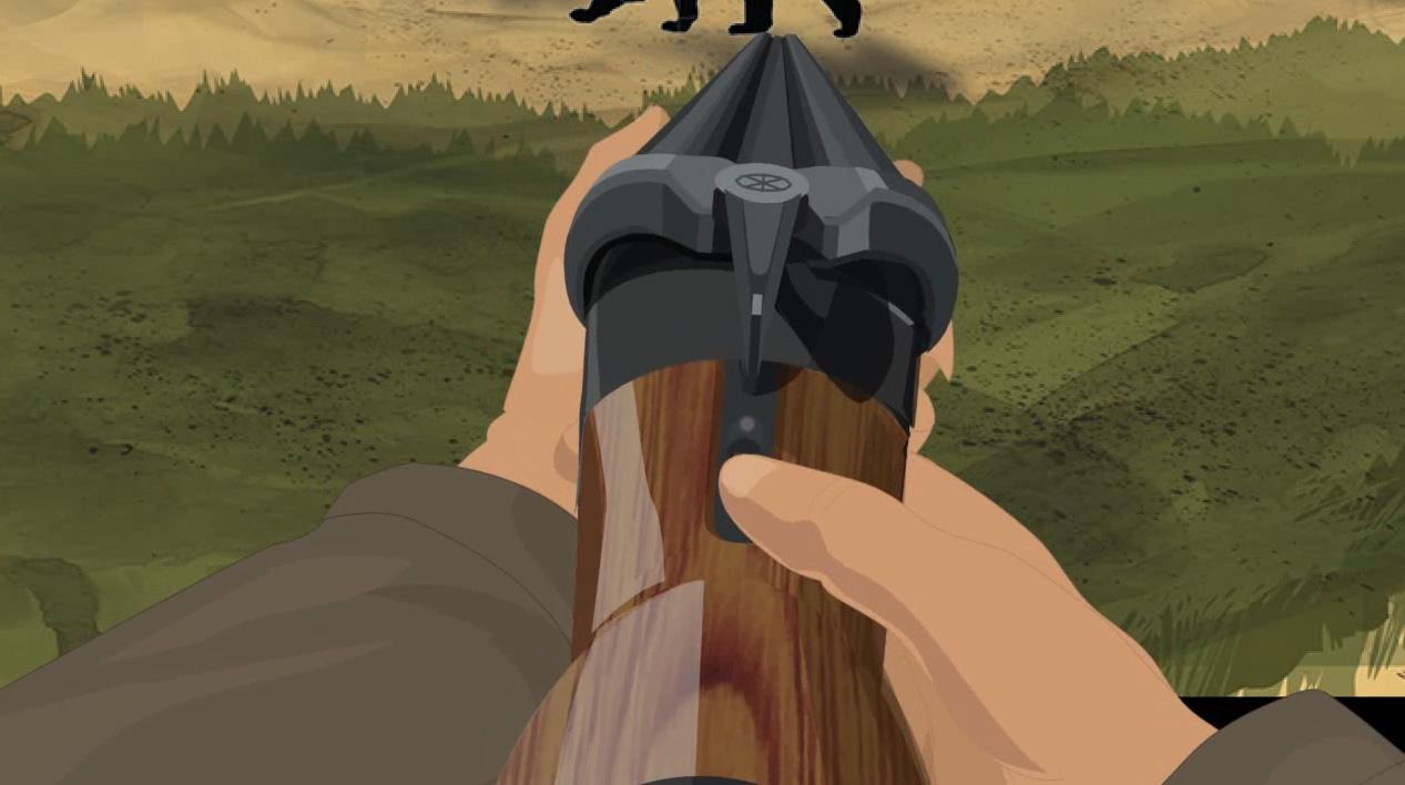 Illustration of a hunter's hands turning on a break action shotgun's safety.