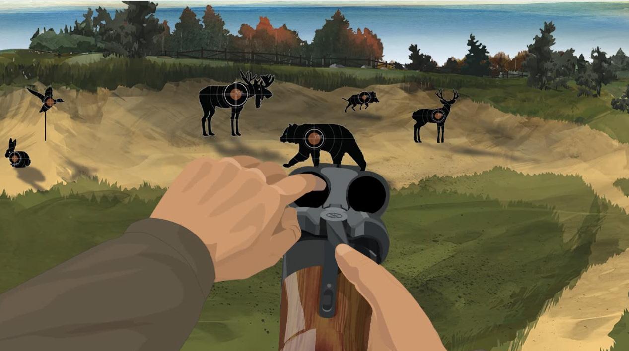 Illustration of a hunter's finger checking for obstructions in a break action shotgun's barrels.