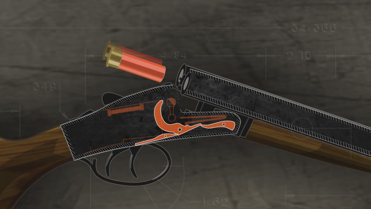 Illustration of the inside of a double barrel break action shotgun with two shotshells being loaded into the chambers.