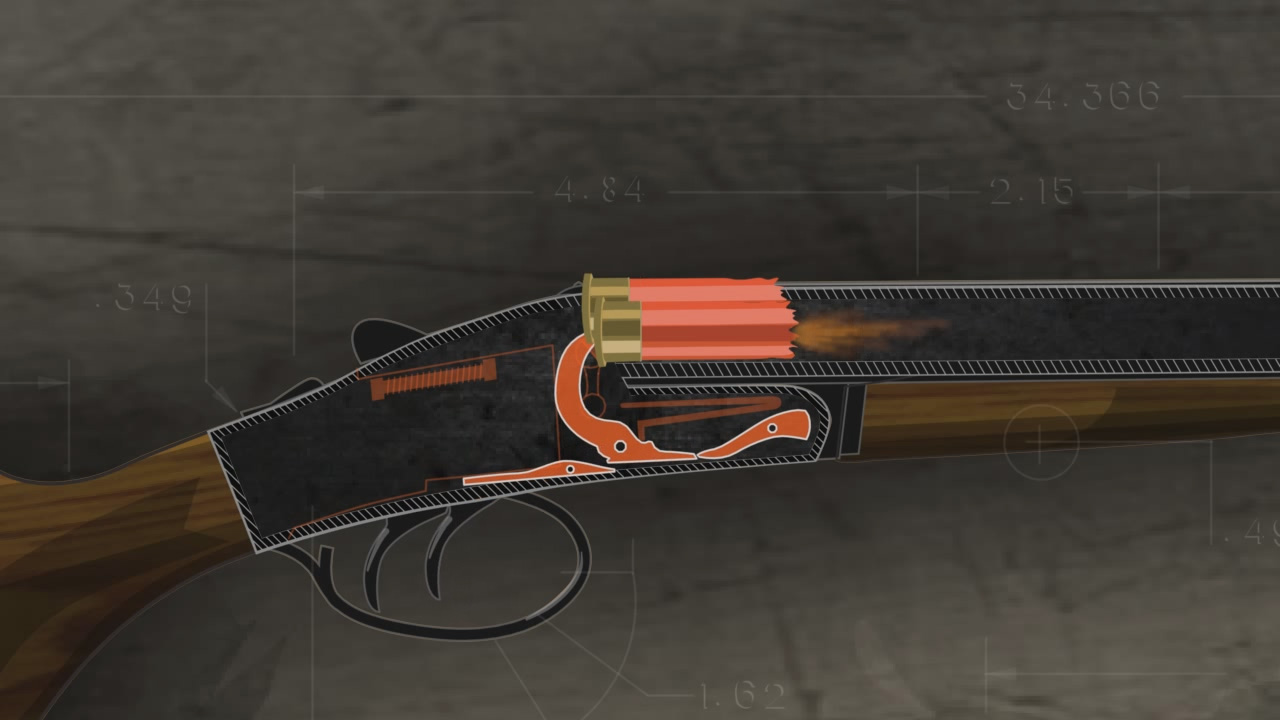 Illustration of the firing pin striking and firing the ammunition in a break action shotgun.