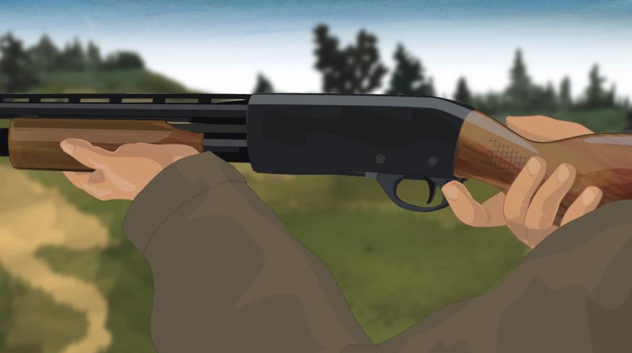 Illustration of a hunter's hands turning on a pump action shotgun's safety.