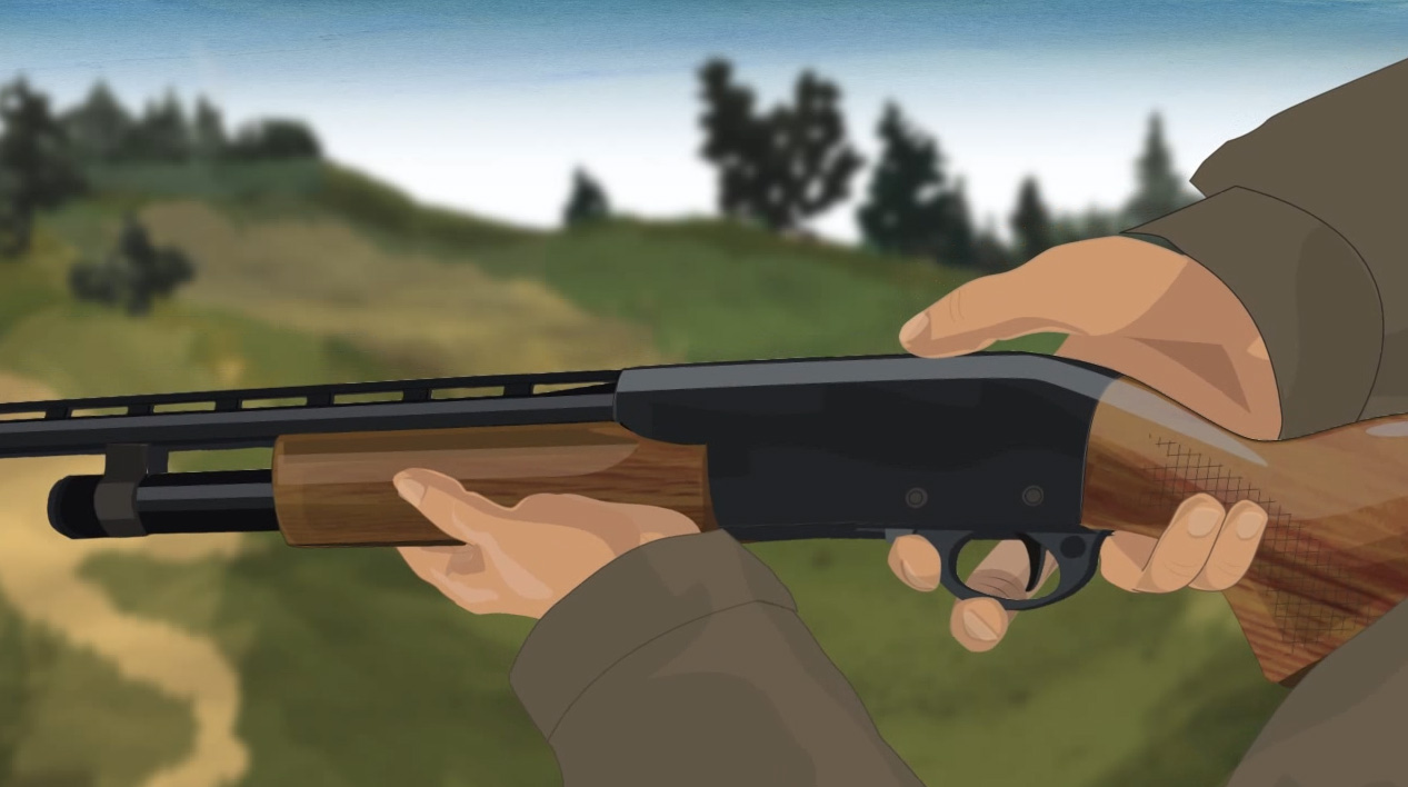 Illustration of a hunter's hands opening the action of a pump action shotgun.