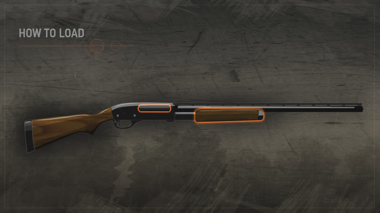 Illustration of a pump action shotgun with the action closed and the forestock in the forward position.