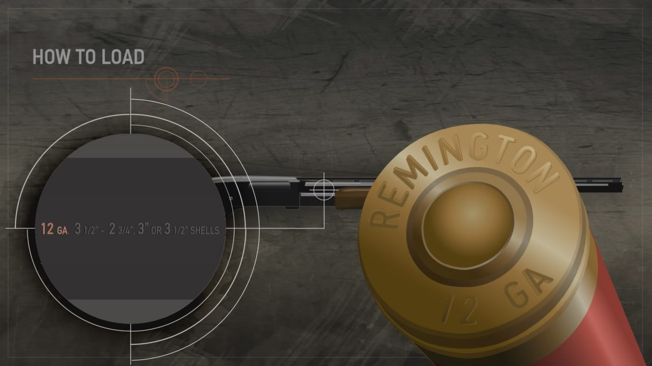 Illustration of a pump action shotgun with a close up on the data stamp and shotshell's head stamp.