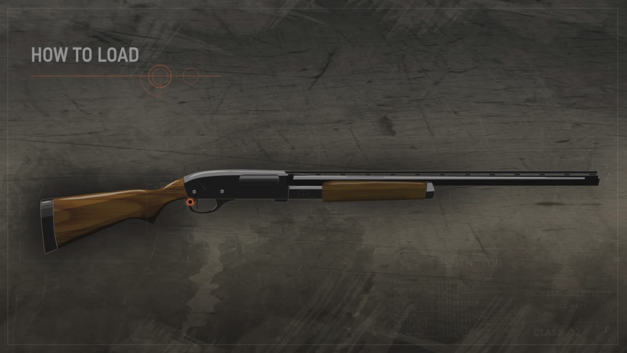 Illustration of a pump action shotgun with the safety highlighted in orange.