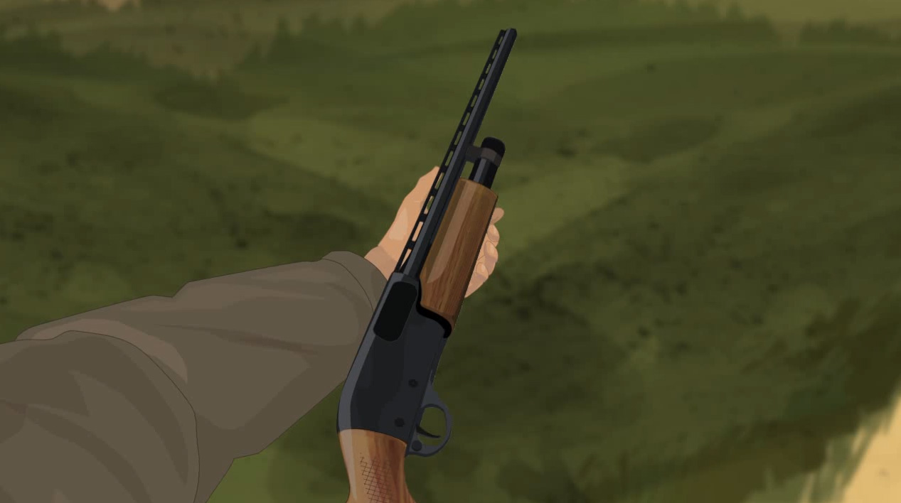 Illustration of a hunter's hands holding a pump action shotgun on its side with the action open.