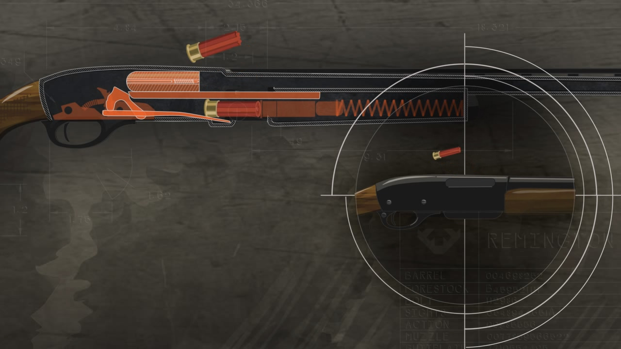 Illustration of the inside of a pump action shotgun whose forestock has been pulled back to cycle the ammunition and remove any spent shotshells. Illustration includes a close up of how the action looks from the outside.