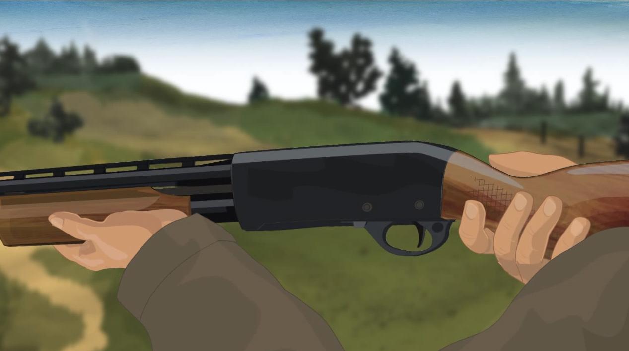 Illustration of a hunter's hands holding a pump action shotgun.