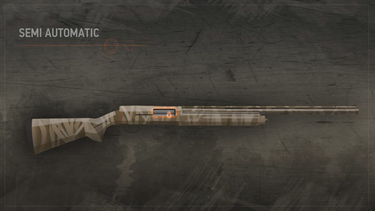 Illustration of a semi-automatic action shotgun with the action closed and highlighted in orange.