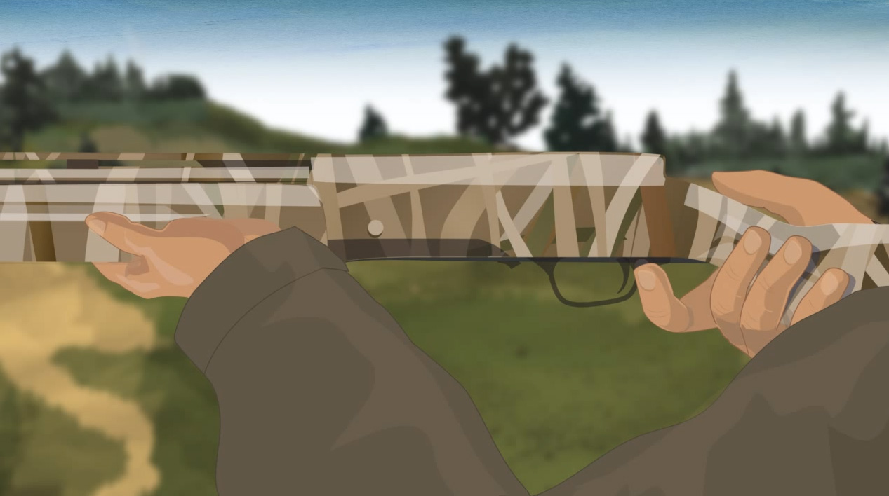 Illustration of a hunter;s hands turning on a semi-automatic action shotgun's safety.
