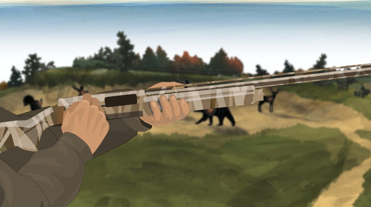 Illustration of a hunter's hands opening a semi-automatic action shotgun's action.