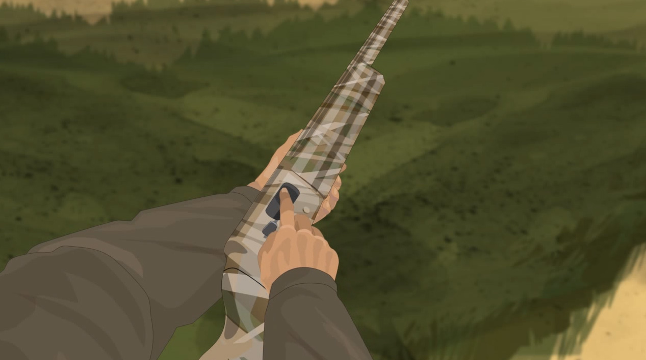 Illustration of a hunter's finger checking for obstructions in the chamber of a semi-automatic action shotgun.