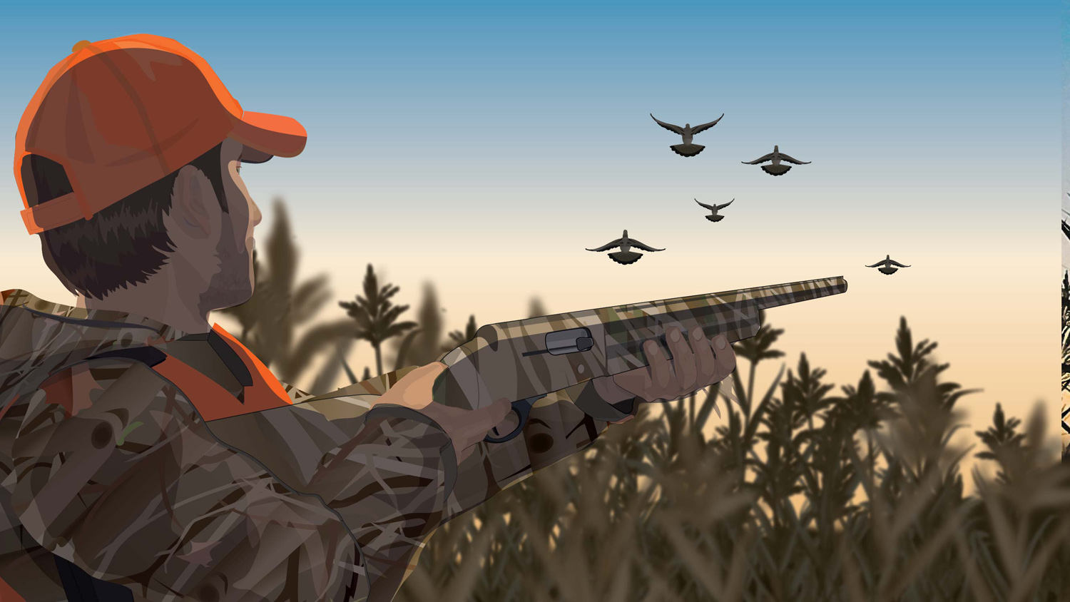 Illustration of a camouflaged hunter hunting flying game birds.